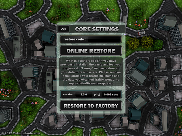 Traffic Wonder restore code feature from  game settings